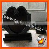 Grey and Black Granite Tombstone Monument With Heart