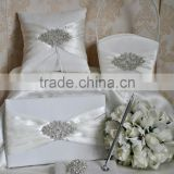 2014 bling Wedding Decoration sets/wedding guest book and pen set/ beaded ring Pillow/decorating flower girl basket
