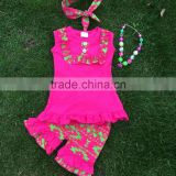 2-7years girls clothing sets children hot pink clothes tops t shirt + pants baby kids suits 2 pcs suit retail with accessories