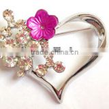 New arrival Clear Rhinestone crystal epoxy red flower heart brooche pins for girl or Women