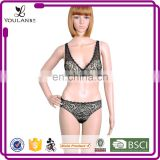 Top Quality Graceful Mature Lady Transparent Sexy Fancy Lace Bra Transparent Panty Set