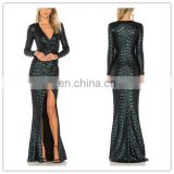 Fashion V-neck & Front Seam Slit Green Sequin Beaded Evening Dress With Long Sleeve