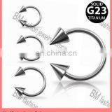 Grade 23 Solid Titanium Horse shoes Body Jewelry with Spikes Piercing