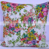 Indian Colorful Designer Cotton kantha White Floral sofa Cushion Covers/Handcrafted Ethnic kantha work Pillow Cushion Cover Art
