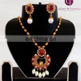 2015 Indian Imitation Kundan Jewelry-Wholesale Choker Pendant Set-One gram Gold Plated Pendant Set