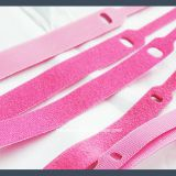 Wholesale pin type hook and loop velcro cable tie,pink