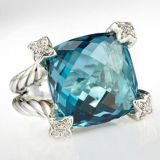 Sterling Silver Jewelry 15mm Blue Topaz Cushion on Ponit Ring(R-134)