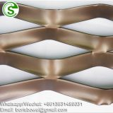 Powder coating expanded aluminum mesh screens for safety