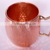Moscow Mule Hammered Copper Barrel Mugs with Brass Handle, Solid Copper Beer Mugs, Moscow Mule Copper Drinking Mugs