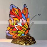 Tiffany Style Art Glass Butterfly Lamp Small Accent Table Side Lamps