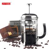 2015 hot sale borosilicate glass coffee press ,chrome plated coffee plunger,simple design french press