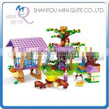 Mini Qute DIY farm farmer transport cart apple tree house village action figure plastic building block educational toy NO.24706