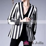 2016 Fashion ladies business suit design white stripe between black suit for women