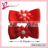 Cheap hair accessories wholesale small ribbon bow beaded elastic hair band (XH12-2107)