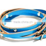 Blue bangle vintage Leather pu Bracelets wristband Jewelry Items Bracelet For Women bangles new 2015 fashion brand pulseira cc