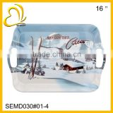 2014 new rectangle melamine serving tray with handle