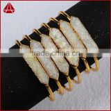 Hot sell fashion jewelry design accessories gold rough white agate druzy accessories stones cuff bangle bracelet
