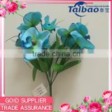 2016 new design plastic and fabric flower bush artificial blue orchid plants