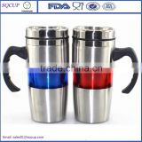 Wholesale Double wall plastic tumbler coffee cup office cup or mug stainless steel beer mug with handle and lid