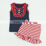 Hot sale summer posh teen girl matching clothing set 4th of july patriotic outfit set for babies