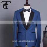 2016 latest office uniform designs 2 piece royal blue mens tuxedo two tone business suit for men