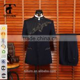 new products 2016 High Quality Chinese Style Wholesale tailor made Formal plain embroidery design arm suit safari suit