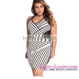 Cheap Wholesale Women XXX Sexy Black and White Mesh Halterneck Curvy Mini Bodycon Dress Plus Size