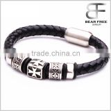 new high quality homemade christmas gifts Plain Black leather bracelets with cross stainless steel clasp