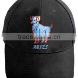 novelty&charming optical fiber flashing aries embroidery baseball cap