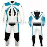 Leather Motor Bike RAcing Suit White Light Blue and Black Contrast