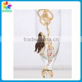 Gold Tone Doll Fish Sea Mermaid Keychain Beauty Women Crystal Diamonds Metal Mermaid Key Ring