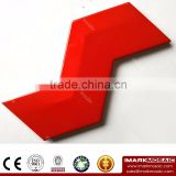 Imark AXIS Z Shape 3D- Effect Pure Bright Red Colorful Gloosy Glazed Ceramic Wall Tile For Bright House Wall
