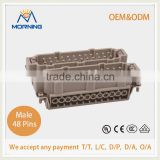 HE-048-M, Industrial Copper Alloy Material 48 Pins Auto Electrical Wire Connector, Male Screw Terminal