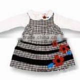 girls black white check jumper dress with red flowers n white blouse factory wholesale girls skirts