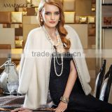Diamond round collar regular length women natural white mink fur coat for sale