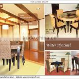 Water hyacinth dining set, dining table and dining chair with glass and wooden frame