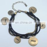 Layered black handmade leather bracelet peace words engraved disc vintage brass bracelet