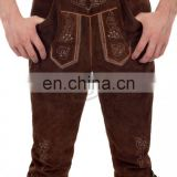Bright Over Knee Leather Pants Suede Leather Dark Brown German Bavarian Lederhosen (German Garments)
