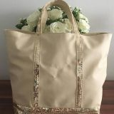 beige sequins bags with leather tote bag