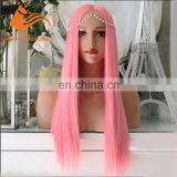 8A Grade Natural Hair Pink Wig Unprocessed Brazilian Human Long Aliexpress Hair Wig Rainbow Color Lace Front Pink Wig For Women