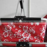 600D dotted fabric folding shopping basket collapsible picnic basket metal picnic basket