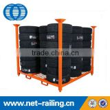 Foldable steel stacking tire pallet