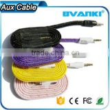 new products 2016 Quality nylon braided Aux cable 3.5mm male male colorful audio cable bulk buy from china                                                                                                         Supplier's Choice