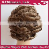 Best selling Full swiss lace Short Curly brown brazilian human hair Wig for men