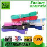 SLT 1.5M Flat HDMI Cable Male to Male 1.4v Support Ethernet 3D 4K 1080p For HDTV Projector