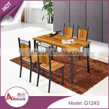 Dining room furniture metal legs dining table and chair 15mm thick mdf 4 seater italian dining table