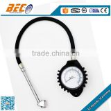 (YTS-60A) 60mm bottom connection black steel case with transparent mirror rubber hose pen type tire pressure gauge