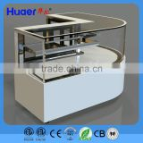 Huaer bakary display cornor refrigerator cake showcase Cubed Glass Refrigerated Countertop Display Cabinet