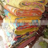 Vintage Cotton Sari Kantha Quilts, hand quilted Bedspread, Antique Bed cover