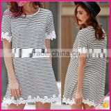Round Neck Short Sleeve Lace Trim Stripe Causal Dress, Women Casual One Piece Dress Simple